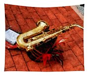 Saxophone Before The Parade Tapestry