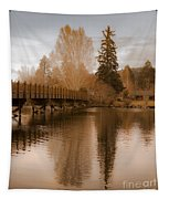 Scenic Golden Wooden Bridge Tree Reflection On The Deschutes River Tapestry