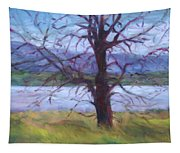 Scenic Landscape Painting Through Tree - Spring Has Sprung - Color Fields - Original Fine Art Tapestry