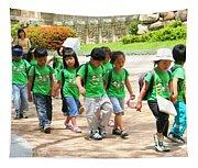School Children In Gyeongju Korea Tapestry