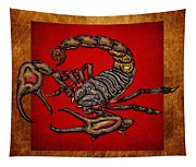 Scorpion On Red And Brown Leather Tapestry