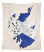 Scotland Map Art With Flag Design Tapestry