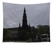 Scott Monument Next To Waverley Train Station And With Sightseeing Buses Tapestry