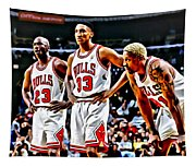 Scottie Pippen With Michael Jordan And Dennis Rodman Tapestry