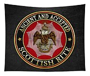 Scottish Rite Double-headed Eagle On Black Leather Tapestry