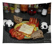 Scrambled Eggs Salami And Cheese For Breakfast. Travelling Baby Pandas Series. Tapestry