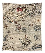 Sea Map By Olaus Magnus Tapestry