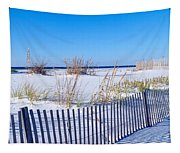 Sea Oats And Fence Along White Sand Tapestry