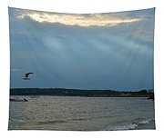 Seagull Flying Over Niles Beach Tapestry