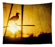 Seagull In Harbor Sunset Tapestry