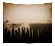 Seagulls Of Old Pilings Portland Maine Tapestry