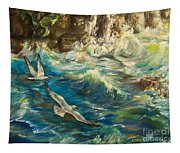 Seagulls Over The Rough Sea Tapestry
