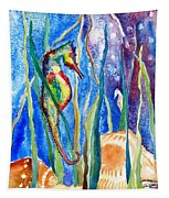 Seahorse And Shells Tapestry