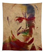 Sean Connery Actor Watercolor Portrait On Worn Distressed Canvas Tapestry