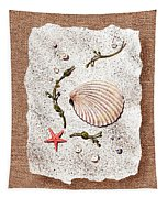 Seashell With Pearls Sea Star And Seaweed  Tapestry