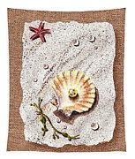 Seashell With The Pearl Sea Star And Seaweed  Tapestry