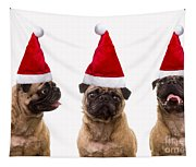 Seasons Greetings Christmas Caroling Pug Dogs Wearing Santa Claus Hats Tapestry