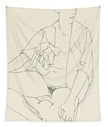 Seated Female Nude With Open Blouse Tapestry