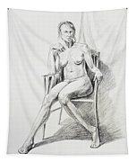 Seated Nude Model Study Tapestry