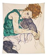 Seated Woman With Legs Drawn Up. Adele Herms Tapestry