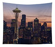 Seattle Cityscape Morning Light Tapestry