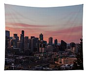 Seattle Cityscape Sunrise Tapestry