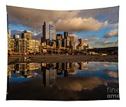 Seattle Pier Sunset Clouds Tapestry