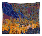 Seattle Skyline Abstract 4 Tapestry