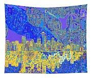 Seattle Skyline Abstract 6 Tapestry