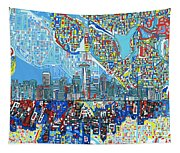 Seattle Skyline Abstract 7 Tapestry