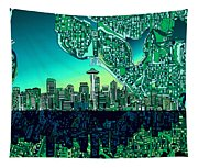 Seattle Skyline Abstract Tapestry