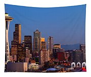 Seattle Winter Evening Panorama Tapestry