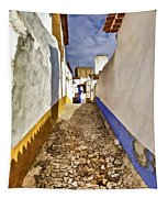 Secluded Cobblestone Street In The Medieval Village Of Obidos IIi Tapestry