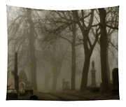 A Graveyard Seeped In Fog Tapestry