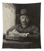 Self-portrait Etching At A Window Tapestry