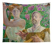 Self-portrait With Muse And Buddleia Tapestry