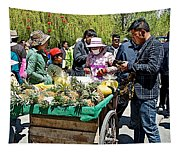 Selling Fresh Pineapple On Street In Lhasa-tibet    Tapestry