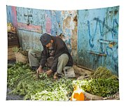 Selling Herbs In The Souk Tapestry