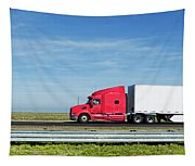 Semi Truck Moving On The Highway Tapestry