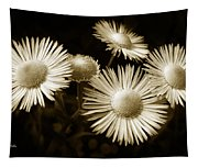 Sepia Flowers Tapestry