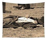 Sepia Rodeo Gunslinger Victim Tapestry