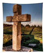 Setting Sun On A Cross By The Trenches Tapestry