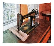 Sewing Machine Near Lace Curtain Tapestry