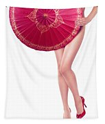 Sexy Asian Woman With Red Oriental Umbrella Tapestry