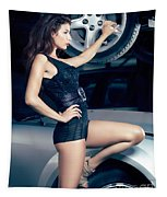 Sexy Mechanic Girl Posing With Cars Tapestry