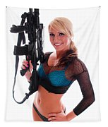 Sexy Woman Holding An Ar15 Tapestry