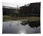 Shack And House Along With Weeds Right On Shore Of Dal Lake Tapestry