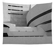 Shapes Of The Guggenheim In Black And White Tapestry