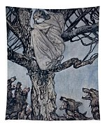 She Looked With Angry Woe At The Straining And Snarling Horde Below Illustration From Irish Fairy  Tapestry