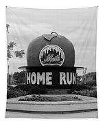 Shea Stadium Home Run Apple In Black And White Tapestry